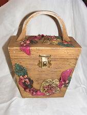 Vintage 60's Brown Wooden Box Purse Artist Signed Pink Green Floral Design
