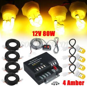 80W 80 Watt 4 HID Bulbs Hide Way Amber Emergency Warning Strobe Light System