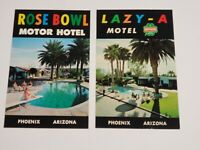 Vtg 2 1960s  Postcards - Lazy-A Motel, Rose Bowl Motor Hotel - Phoenix, AZ