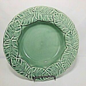 Bordallo Pinheiro Bowl Large Rim Green Leaf Service Soup Portugal Pottery VTG