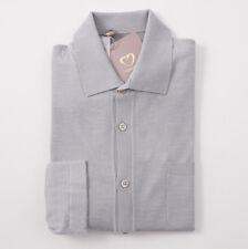 NWT $900 CRUCIANI Light Gray Cashmere-Silk Button Front Sweater-Shirt M (Eu 50)