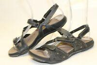 Earth Maui Black Womens 7 B Leather Slingback Sandals Flats Shoes