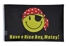 PringCor Pirate Happy Face Flag 3x5ft Have a Nice Day Matey Boat Nautical Gift