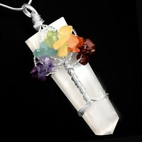 Selenite Tree Of Life Wire Wrap Crystal Chakra Gemstone Pendant Silver Necklace