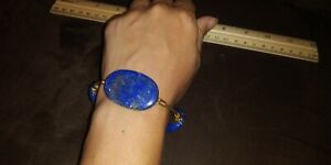 Bourbon & Bowties Bangle Bracelet Blue Lapis Lazuli Beaded Gold Plated Wire Wrap