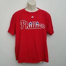 Philadelphia Phillies Shirt Cliff Lee Mens Large #33 Red Short Sleeve Majestic