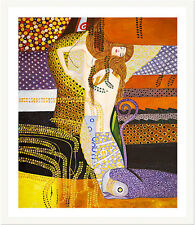 Water Serpents I by Gustav Klimt 75cm x 62.5cm Framed White