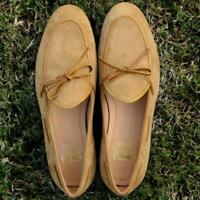 Men Slip On Belgian Suede Loafer Handmade Camel Casual Shoes Calf Leather