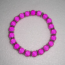 Large Size Hot Pink Miracle Bead Bracelet Silver Spacers Fashion Jools Handmade