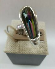 Uno de 50 Meteorite Iridescent Ring Alloy Metal Silver Plated Size Large NWT