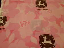 BTY JOHN DEERE Pink FLORAL FABRIC Brown Logo COTTON FLOWERS By The Yard NEW