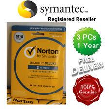 NORTON (Internet) di sicurezza Anti Virus All in One 3 PZ 1 ANNO RETAIL 2018 UK