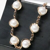 Handmade Akoya White Round Pearl Bracelet Women Jewelry 14K Rose Gold Plated