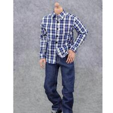 "1/6 Scale Blue Plaid Shirt Jeans Pants For 12"" Hot Toys Dragon BBI Figures"