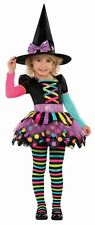 Miss Matched Girls Witch Costume Childs Halloween Fancy Dress Toddler 3-4 Years