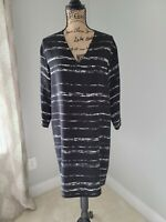 Vince Women's Silk Pullover Dress Size Small Black Gray 3/4 Sleeve v-neck