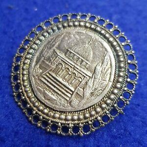 Brooch Sterling filigree Made in Palestine Bezalel Jerusalem Mosque of Omar vtg