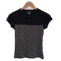 RALPH LAUREN Cap Sleeve T-shirt Black & White Stripes, POLO Logo In Pink Small