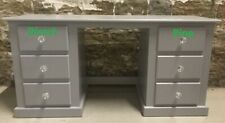 SHAFTESBURY DOUBLE 6 DRAWER DRESSING TABLE GREY/CRYSTAL HANDLES NO FLAT PACKS!