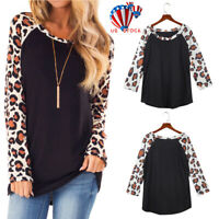 US Womens Long Sleeve Leopard Print T-Shirt Ladies Casual Tops Blouse Plus Size