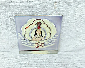 1930s God Krishna Om Majolica Architecture Furniture Ceramic Vintage Tile Japan