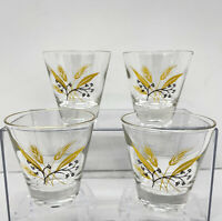 4 Vintage Whiskey Glass Yellow Brown W/ Gold Rim Wheat Design Double Shot Glass