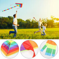 Colorful Rainbow Kite Long Tail Nylon Outdoor Kites Flying Toy for Children Kids