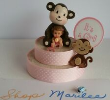 MONKEY BABY GIRL BABY SHOWER CAKE TOPPER DECORATION
