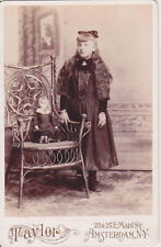 Cabinet Card Sweet Little Girl and Doll by Taylor Amsterdam NY 1890s