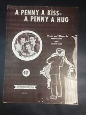 Vintage Sheet Music A Penny A Kiss A Penny A Hug 1950 Andrews Sisters