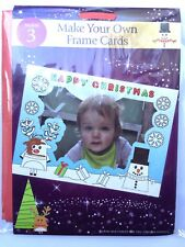 CHRISTMAS PHOTO CARDS, MAKE YOUR OWN, PACK OF 3 XMAS CARDS, COLOUR IN FRAMES