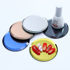 5 Colors Nail Art False Tips Stickers Practice Display Mirror Glass Round Boards