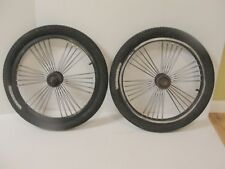 "(2) 20"" BLACK 60 spoke BMX LOWRIDER RIMS SET CRUISER BIKE GT MONGOOSE TIRE"