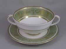 ROYAL DOULTON GREEN ENGLISH RENAISSANCE TWO HANDLED SOUP COUPE & SAUCER, H 4972.
