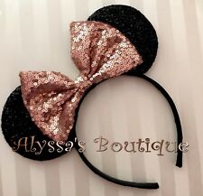 Minnie Mouse Ears Headband Shiny Black With Rose Gold Bow Birthday Party Favors