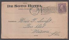"*Us 20th Century Advertising Cover, Tampa, Fl, 2/19/1918, ""De Soto Hotel"""
