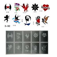 10pcs Body Art Face Paint Stencil Reusable Template Soft for Festival Makeup