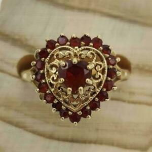 2Ct Heart Cut Red Garnet Diamond Vintage Engagement Ring 14K Yellow Gold Finish