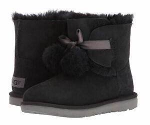 UGG Girls K Gita Pull-on Boot Chestnut & Black Big Kid AUTHENTIC NEW ST#1017403K