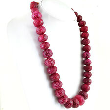 1132.00 CTS EARTH MINED RARE RICH RED RUBY ROUND SHAPE CARVED BEADS NECKLACE