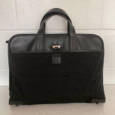 Mont Blanc Unisex Laptop Cases Bag Briefcase Black Soft Leather Nylon Italy XL