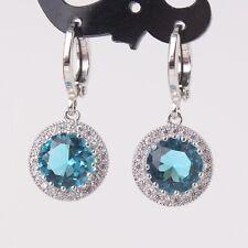 Luxury Stunning aquamarine 18k white gold filled promise lady dangle earring