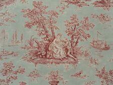 Sanderson Curtain Fabric JOSETTE 3.2m Rose/Sage Linen Mix Toile Design 320cm