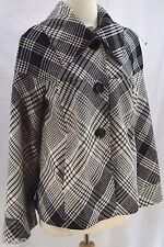 Touche Anthropologie Wool Dress Coat Ladies winter Jacket plaid button short 8