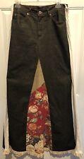 Womens long HotKissBoho Hippy denim skirt With Inserts  size 11 Waist 32