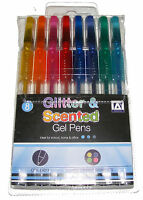 8 PACK OF COLOUR GLITTER AND SCENTED GEL PENS SET - MIXED COLOURS - NEW