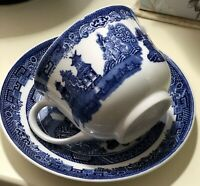 Ceramic Blue Willow Tea Cup and Saucer by Johnson Brothers of England