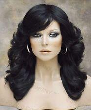 farrah fawcett Glamorous New Big open Wavy Off Black Wig Medium  CA 1B