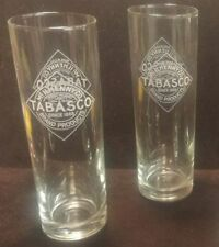 """Tabasco Set of 2 Bloody Mary Tall Glasses Barware Tall Clear White Etch 12 oz 7"""""""