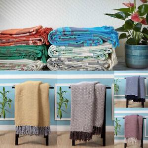 Large 100% Cotton Sofa / Bed Throw Linear Striped or Geometric Diamond Design